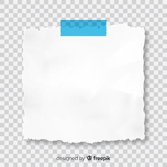 Note de post réaliste sur fond transparent