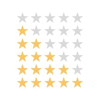 Note d'étoiles sur fond blanc