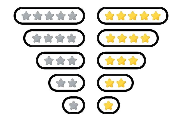 Note d'étoiles. insignes d'étoiles de notation. examen de l'évaluation du produit par les clients stars