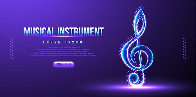 Note d'instrument de musique filaire low poly