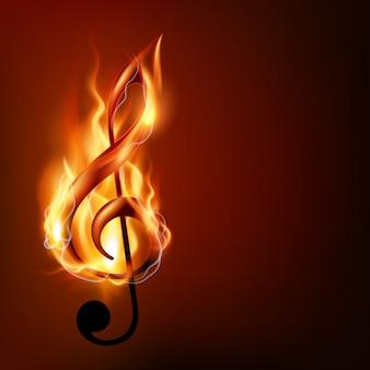 Note de musique brûlante