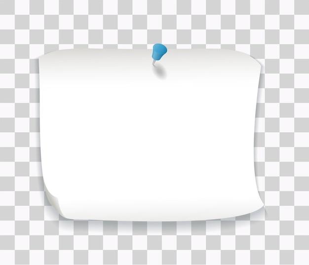 Note de papier blanc avec épingle bleue