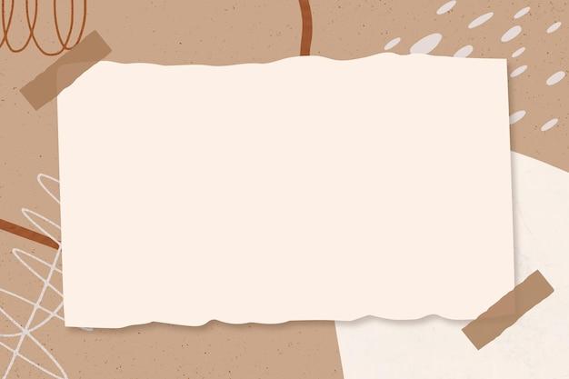 Note de papier sur fond marron memphis