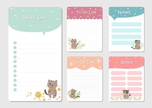 Note papier et liste de tâches, pour cahier