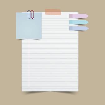 Note en papier avec pense-bête et ruban adhésif. illustration vectorielle.
