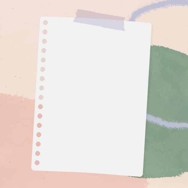 Note de papier perforé sur le vecteur de fond aquarelle vert et rose