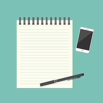 Note papier avec stylo et smartphone. illustration