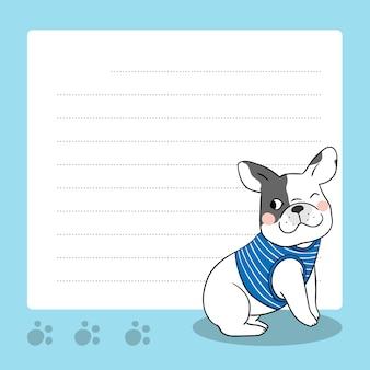 Note de papier de vecteur de bouledogue français mignon