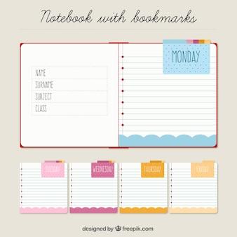 Notebook et notes pour organiser la semaine