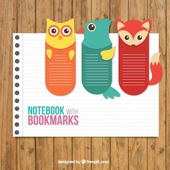 Notebook avec des signets animaux