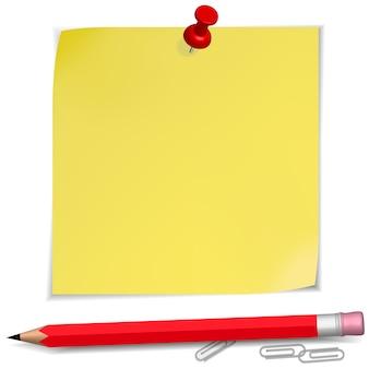 Notes adhésives avec une épingle et un crayon isolé sur blanc