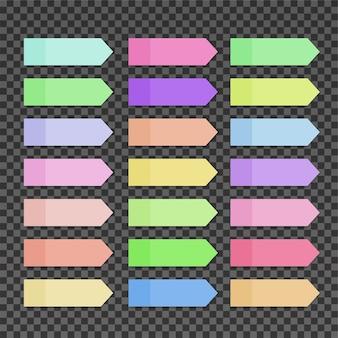 Notes autocollantes colorées sur fond transparent