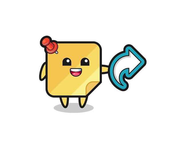 Les notes autocollantes mignonnes contiennent le symbole de partage des médias sociaux, la conception de style mignon pour le t-shirt, l'autocollant, l'élément de logo