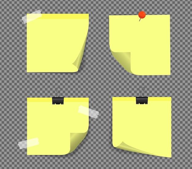 Notes autocollantes réalistes isolées avec une ombre réelle. rappels de papier collant carré avec des ombres, page papier.