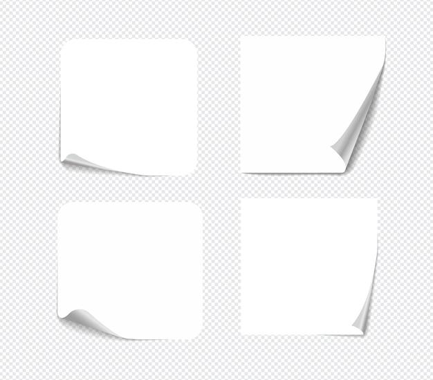 Notes autocollantes réalistes isolées avec une vraie ombre