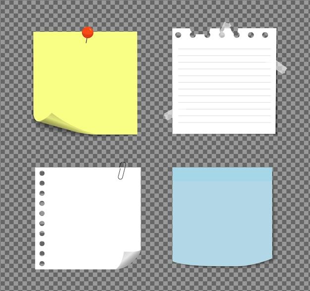 Notes autocollantes réalistes isolées