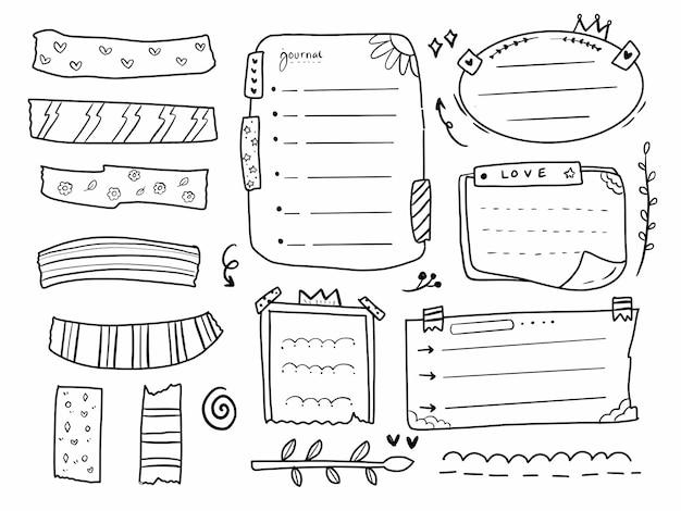 Notes de cadre de journal de balle et calendrier définis dans le style de ligne