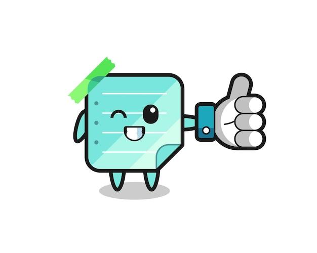 Notes collantes bleues mignonnes avec le symbole de pouce levé des médias sociaux, conception de style mignon pour t-shirt, autocollant, élément de logo