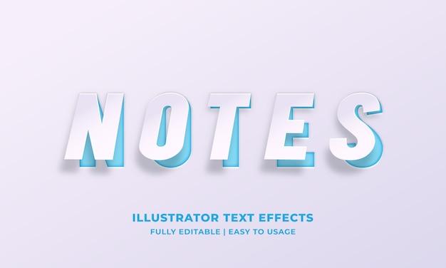 Notes effet de style de texte sur papier blanc