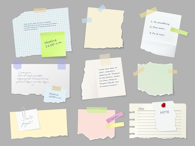 Notes feuilles de papier attachées avec du ruban adhésif