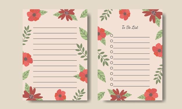 Notes de fleurs vintage dessinées à la main pour faire le modèle de liste imprimable