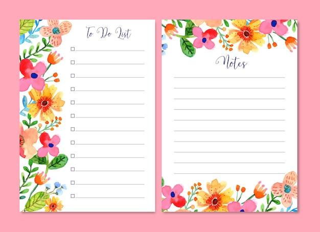Notes florales aquarelles et modèle jurnal