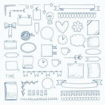 Notes de griffonnage de journal. cadres de formes graphiques dessinés à la main pour ordinateur portable