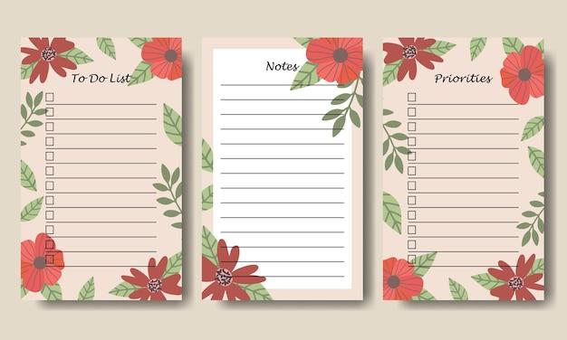 Notes d'illustration de fleurs vintage dessinées à la main pour faire le modèle de liste imprimable