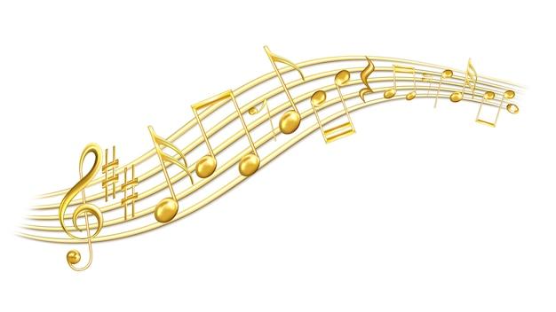 Notes de mélodie musicale, clé de sol et sharp