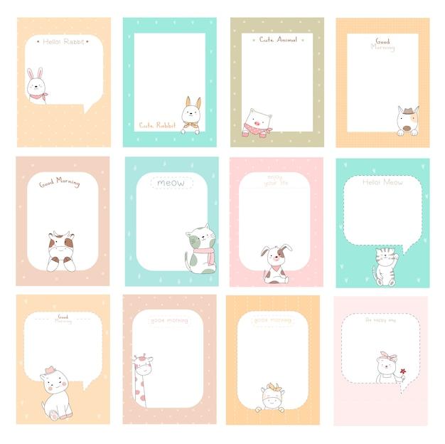 Notes mignonnes avec style dessiné à la main de dessin animé bébé animal