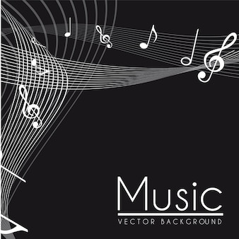 Notes musicales illustration vectorielle noir et blanc