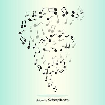 Notes musicales tourbillonnent scène