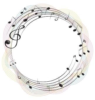 Notes de musique sur le cadre rond