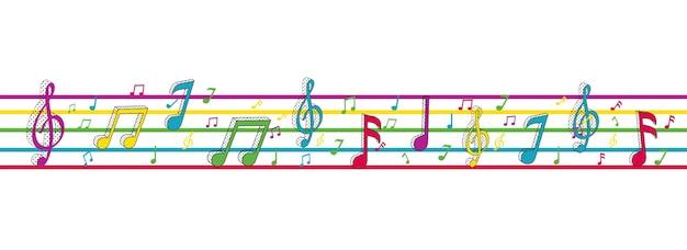 Notes de musique colorées sur des rayures horizontales et fond blanc.