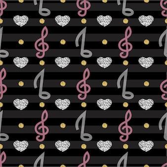 Notes de musique avec motif de coeurs