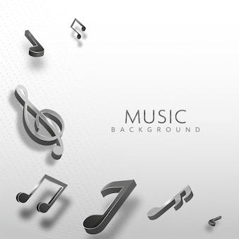 Notes de musique noires 3d sur fond pointillé blanc.