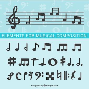 Les notes de musique pour la composition