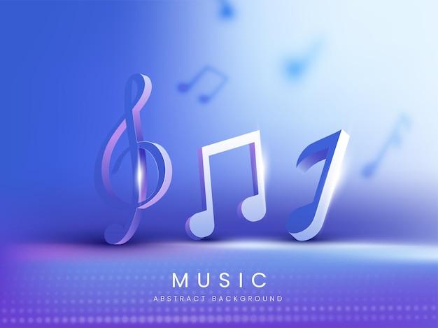 Notes de musique de rendu 3d avec effet de lumière sur fond abstrait bleu.