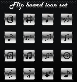Notes de musique vectorielles retournent les icônes mécaniques pour la conception de l'interface utilisateur