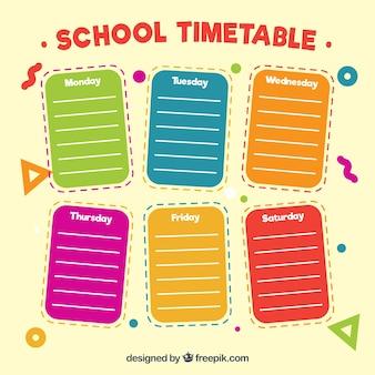 Notes de papier de couleur pour le calendrier scolaire