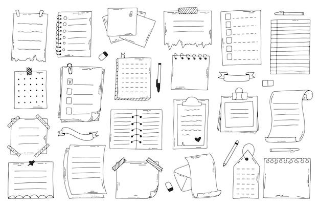 Notes de papier doodle dessinés à la main. cahier de croquis, liste, planificateur et journal, feuilles de papier de journal de balle. jeu de notes de doodle. mémo de papier à lettres, carnet dessiné à la main sommaire