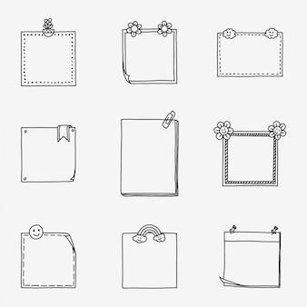 Notes de papier d'écriture dessinées à la main