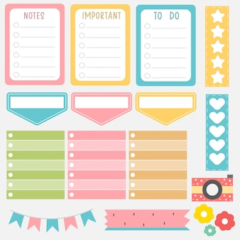 Notes de papier mignon dans un jeu de couleurs douces. autocollants de planificateur imprimables. modèle pour votre message. planification décorative