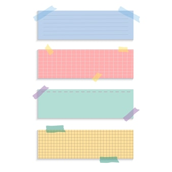 Notes de papier de rappel rectangle set vector