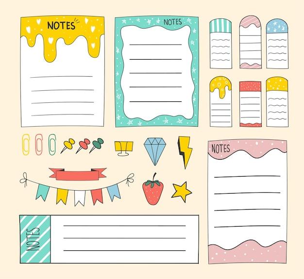 Notes de papier de rappel vierges dessinées à la main colorées