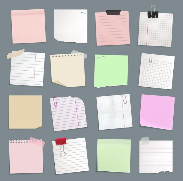 Notes de papier vierges, blocs-notes autocollants et mémo à faire