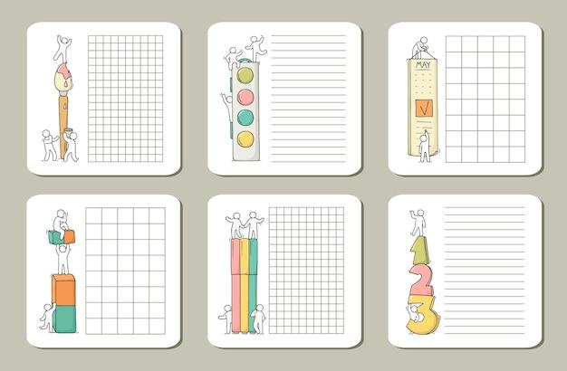 Notes pour les cartes, autocollants, étiquettes avec des personnes.