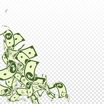Notes de roupie indienne tombant. factures inr en désordre sur fond transparent. l'argent de l'inde. illustration vectorielle brillante. concept fabuleux de jackpot, de richesse ou de réussite.