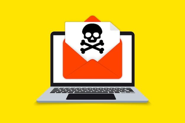 Notification d'alerte sur ordinateur portable, concept de malware, virus, spam, application malveillante ou piratage d'un ordinateur portable. notification de logiciels malveillants. alerte d'alerte de virus d'avertissement à l'écran. message de malware d'enveloppe