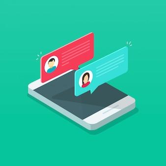 Notification de messages de discussion ou bulles de sms sur un téléphone portable ou un téléphone portable isométrique